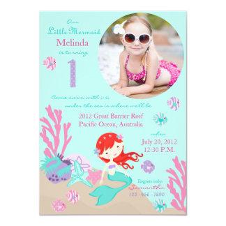 Auburn Mermaid First Birthday Invitation