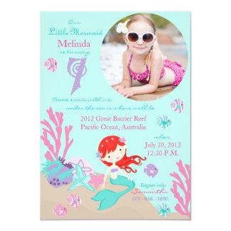 Auburn Mermaid Seventh Birthday Invitation