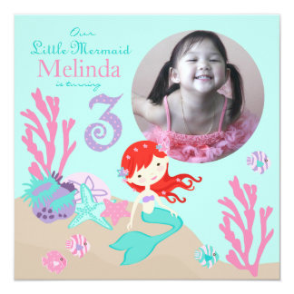 Auburn Mermaid Third Birthday 13 Cm X 13 Cm Square Invitation Card