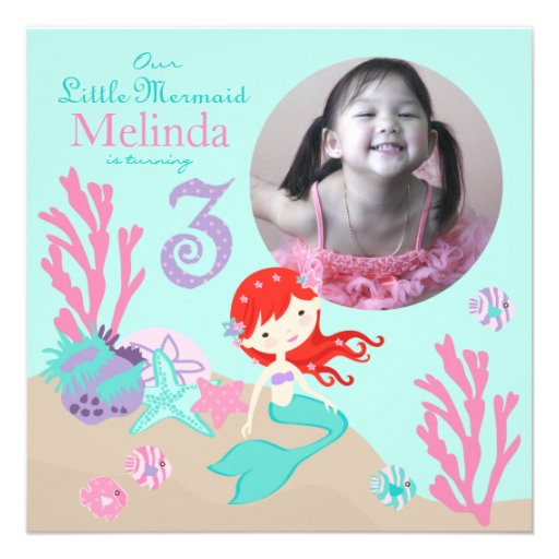 Auburn Mermaid Third Birthday Custom Invitations