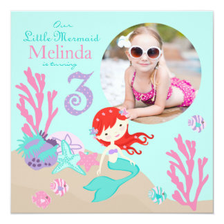 Auburn Mermaid Third Birthday Invitation
