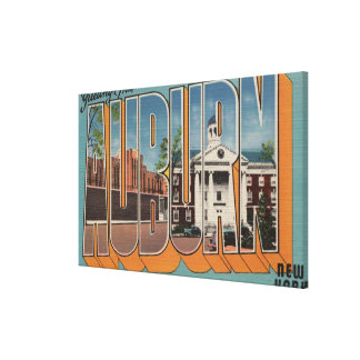 Auburn, New York - Large Letter Scenes Gallery Wrapped Canvas