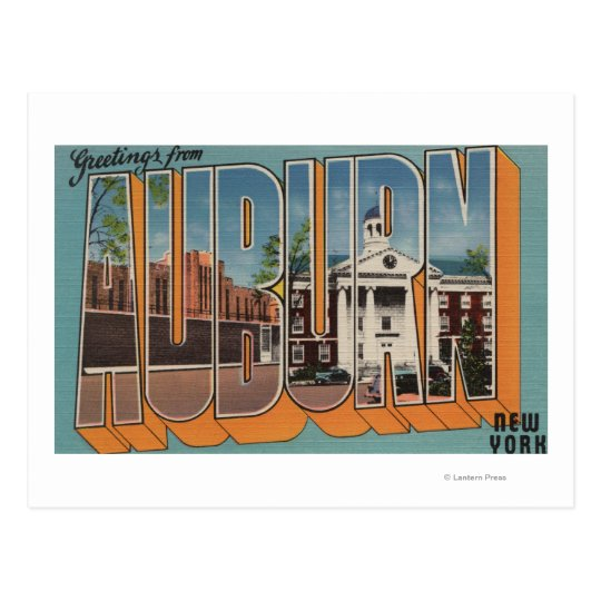 Auburn, New York - Large Letter Scenes Postcard