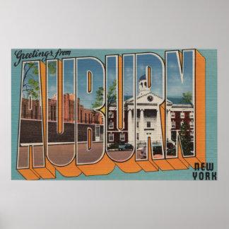 Auburn, New York - Large Letter Scenes Poster