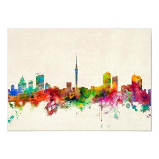 Auckland New Zealand Skyline 13 Cm X 18 Cm Invitation Card