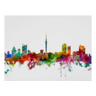 Auckland New Zealand Skyline Poster