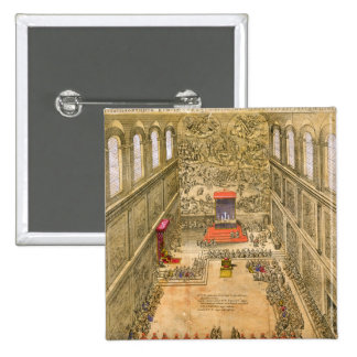 Audience Chapel at the Vatican (colour engraving) 15 Cm Square Badge