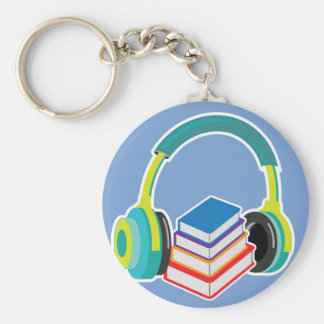 Audio books Headphones and Books Icon Basic Round Button Key Ring