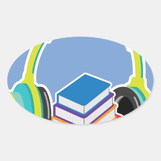Audio books Headphones and Books Icon Oval Sticker