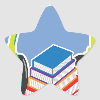 Audio books Headphones and Books Icon Star Sticker