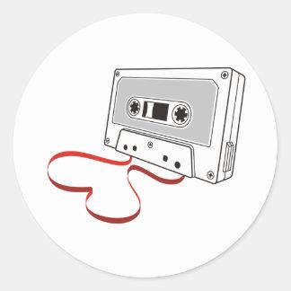 Audio cassette round sticker