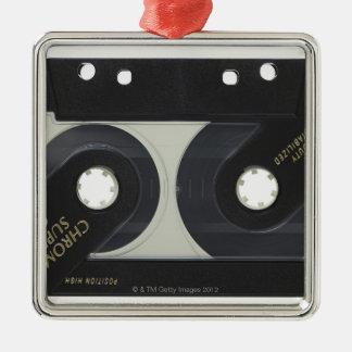 Audio Cassette Silver-Colored Square Decoration
