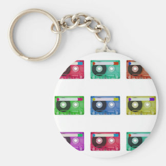 audio compact cassette basic round button key ring
