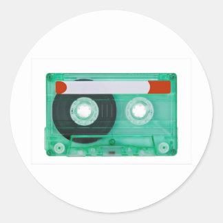 audio compact cassette round sticker