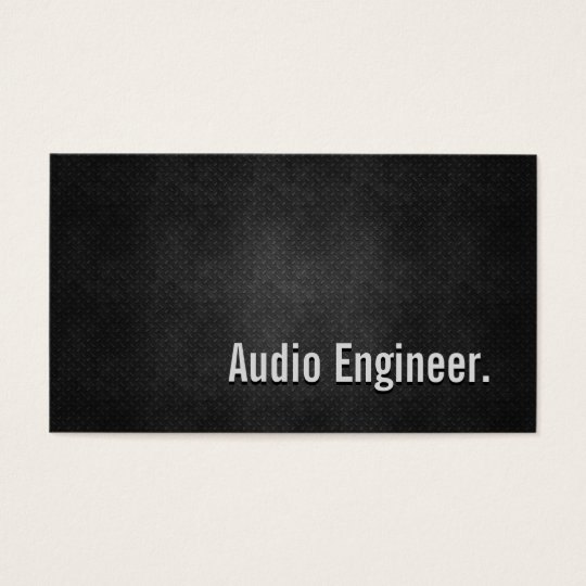 Audio Engineer Cool Black Metal Simplicity Business Card