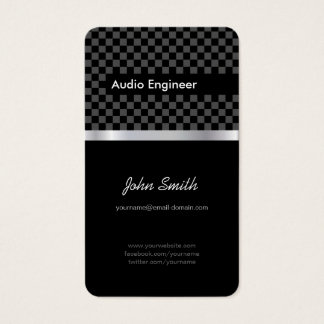 Audio Engineer - Elegant Black Silver Squares Business Card