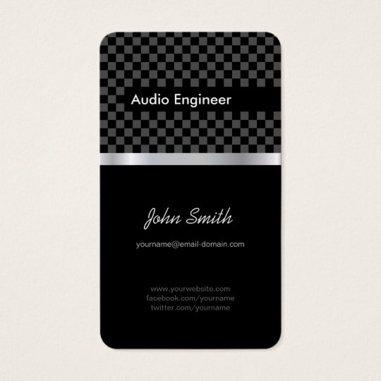 Audio Engineer - Elegant Black Silver Squares Business