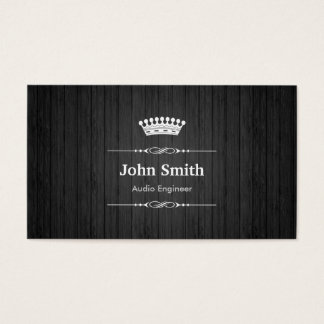 Audio Engineer Royal Black Wood Grain Business Card