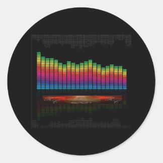 audio equalizer display round sticker