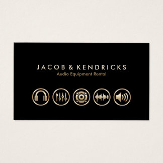 Audio Equipment Rental Gold Icons BusinessCard Business Card