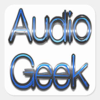 Audio Geek Blue Square Sticker
