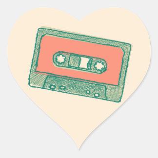 Audio tape sketch heart sticker