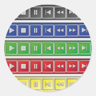 audio / video buttons round sticker