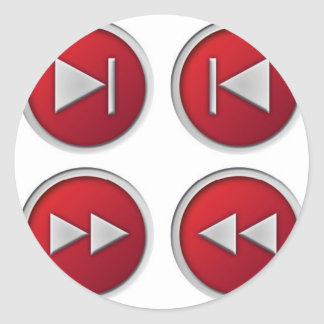 audio / video buttons round stickers