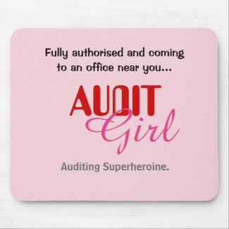 Audit Girl Funny Female Auditor Superheroine Mouse Mat