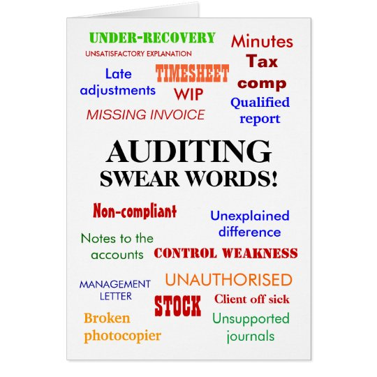 Auditing Swear Words! Rude Auditor Birthday Card