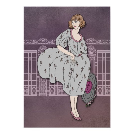 AUDREY: Art Deco Fashion in Grey and Rose