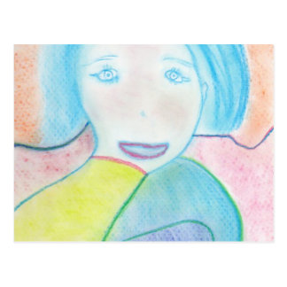 Audrey, Chalk Drawing, Art Postcard