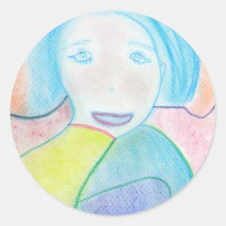 Audrey, Chalk Drawing, Art Round Sticker