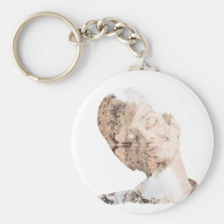 Audrey Double Exposure Print Basic Round Button Key Ring