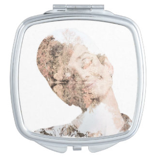 Audrey Double Exposure Print Compact Mirrors