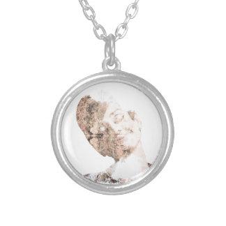Audrey Double Exposure Print Round Pendant Necklace