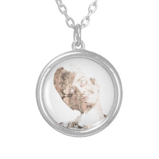 Audrey Double Exposure Print Silver Plated Necklace