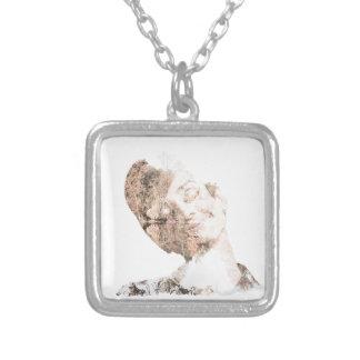 Audrey Double Exposure Print Square Pendant Necklace