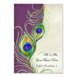 Audrey Jeanne Peacock Feather Purple Damask Escort 9 Cm X 13 Cm Invitation Card