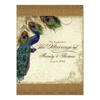 Audrey Jeanne Peacock & Feathers Vintage Damask 17 Cm X 22 Cm Invitation Card