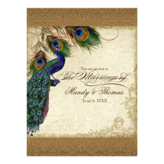 Audrey Jeanne Peacock Feathers Vintage Damask Custom Announcement