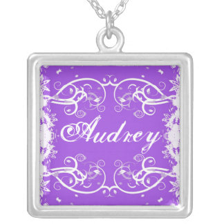 """Audrey"" on purple flourish swirls necklace"