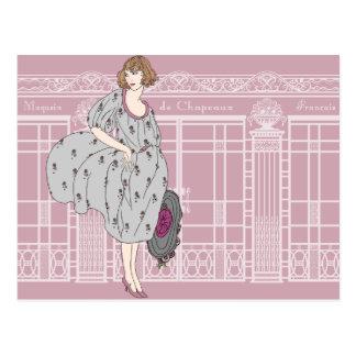 Audrey's Parisian Hat Shop - French Art Deco Postcard