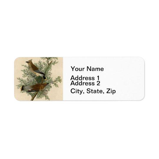 Audubon Cedar Waxwing Bird Return Address Label