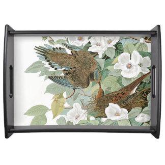 Audubon Dove Birds Wildlife Flowers Serving Tray
