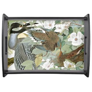 Audubon Heron Birds & Flowers Serving Tray