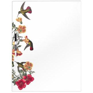 Audubon Hummingbird Birds Floral Dry Erase Board