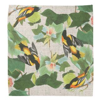 Audubon Oriole Bird Wildlife Animal Floral Bandana