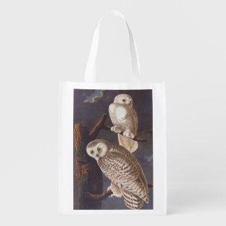 Audubon Snowy White Owl Pair on a Cloudy Night