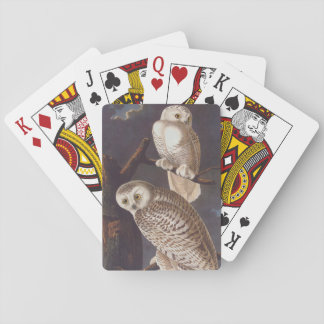 Audubon Snowy White Owls on a Dark Cloudy Night Playing Cards